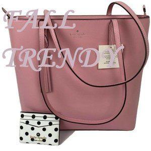 Kate Spade Jana Pink Tote Leather Handbag + Wallet